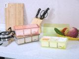 Articolo da cucina dei contenitori contenitore del condimento 6302 & del vaso & del Cruet di plastica 3 della spezia