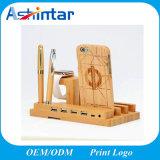 Многофункциональный Bamboo держатель стойки стола телефона для iPad iPhone с кабелем заряжателя