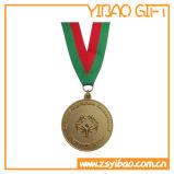 Medalha de ouro elevada da forma do corte com colhedor da impressão (YB-MD-28)