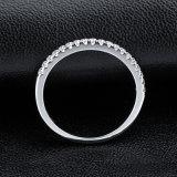 De diamant die van het Zirkoon van de Band Jennie 925 Zilverachtige Ring voor de Juwelen van het Huwelijk plaatsen
