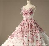 Rosafarbene Spitze-Brautballkleid-Sleeveless Hochzeits-Kleider Z1028