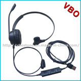Mono ruído profissional que cancela auriculares do centro de chamadas do USB da Mul-Função do auscultadores