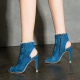 La moda de verano High-Heeled hueco Boca de Pescado zapatos botas cortas de estilo europeo y americano lavado Denim botas cool