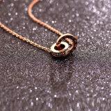 Мелочь украшения подвесной женщин возросла Gold бриллиантовое ожерелье