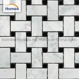 Mosaico di marmo bianco orientale di marmo Waterjet di Carrara Basketweave delle mattonelle di mosaico