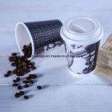 Tazza di carta doppia a gettare stampata marchio del caffè caldo