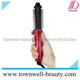 Círculo elétrico encrespador iónico cerâmico aquecido da escova que endireita a escova quente (vermelho de Rosa)