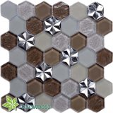 El cuarto de baño decoración floral de plástico de piedra de azulejos de mosaico de vidrio