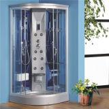Casa de banho com armação de alumínio redonda de vidro temperado com Duche