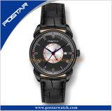 Relógio duplo do aço inoxidável do tempo do projeto novo com movimento suíço