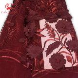 Flor da tela do laço da cor-de-rosa 3D do projeto francês da parte alta para o casamento fêmea