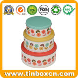 Pastel redondo de metal de calidad alimentaria Tin Box Set