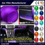 Precio más bajo de la fábrica de cromo mate interior de la película de film adhesivo decorativo de vinilo de envoltura, Chrome