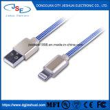 Mfiの平らな充電器ケーブル2mと1m AppleのiPhone Se/5/6s/7のための抗張USBデータ鉛