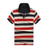 Рубашка-поло с полосой на пике 95% хлопка и 5% спандекс 180-190г/м2