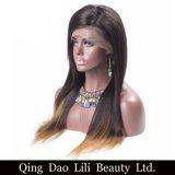 Perucas retas de seda do cabelo humano do 1b 27 da cor de Ombre, perucas do cabelo humano da peruca da parte dianteira do laço de Ombre