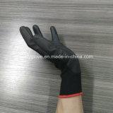 Черные покрынные PU перчатки предохранения от дешевой рабочей сила перчаток работы