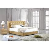 贅沢な古典的な様式水晶Fb3071が付いているベージュカラー革ベッド
