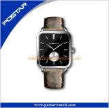 Couleur spéciale cuir Squar-Shaped mouvement suisse quartz watch