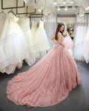 O vestido formal de Quinceanera da menina cor-de-rosa dos vestidos de esfera do casamento do laço ata acima o vestido nupcial traseiro E141016