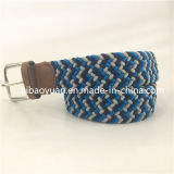 Stripe Mixture Elastic Belt with PU Leather Tail Block
