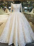 Новое прибытие Шампань с втулки плеча длинней платье венчания поезда в 1.0 метра