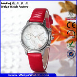 Reloj ocasional de las señoras del cuarzo de la correa de cuero de la manera (Wy-078E)