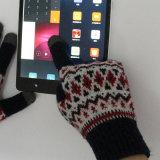 携帯電話のためのタッチ画面指を搭載する冬の編む手袋