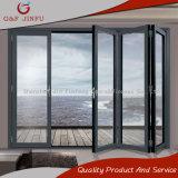 Puerta de plegamiento de aluminio modificada para requisitos particulares económica de energía del perfil con el vidrio doble