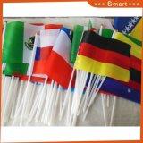 Поощрение 14x21см пользовательские печатаются 100% полиэстер Rainbow стороны флаг