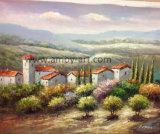 Het Europese Olieverfschilderij van het Landschap van de Wijngaard op Canvas