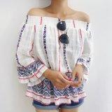 New 숙녀 감미로운 형식 칼라가 없는 긴 소매 t-셔츠