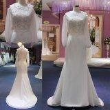 Cordón largo de las fundas y vestido de boda largo de la alineada de la sirena de la gasa