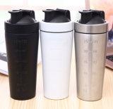 Bevanda della bottiglia di acqua isolata vuoto dell'acciaio inossidabile che mescola in su la bottiglia dell'agitatore