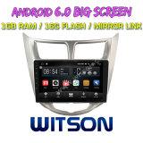"Witson 9 "" Hyundai Verna 또는 악센트 또는 Solaris 2011-2012년을%s 큰 스크린 인조 인간 6.0 차 DVD"