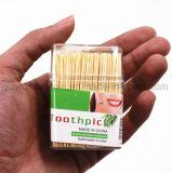 플라스틱 상자를 가진 OEM 고품질 처분할 수 있는 대나무 이쑤시게