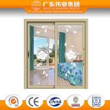 Puerta deslizante de aluminio aislada termal del color de madera del grano
