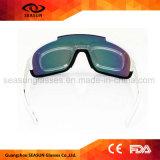 O costume barato marca os vidros brancos do voleibol da lente do revestimento do frame do PC que dão um ciclo óculos de sol do esporte