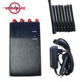 Emittente di disturbo di frequenza ultraelevata di VHF di GPS WiFi del telefono delle cellule delle 8 antenne, 8 emittente di disturbo tenuta in mano portatile del segnale del telefono delle cellule di GSM 2g 3G 4G dell'emittente di disturbo del segnale delle fasce