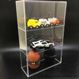 3 camadas do modelo de plexiglas transparente com a porta da caixa de exibição do carro