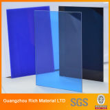 Folha acrílica plástica do perspex azul translúcido da cor