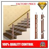 الفولاذ المقاوم للصدأ خشب درابزين الدرج لخطوات داخلي