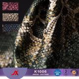 De in reliëf gemaakte Stof van het Leer Snakeskin van het Leer van pvc van het Stofgoud Synthetische Materiële voor Zakken