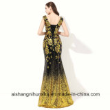 Goldsequin-formale Abend-Kleid-Nixe-Lace-up Abend-Kleid