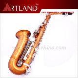 Eb de Zeer belangrijke Bruine & Zilveren Lak is met klaar het Graveren van de Professionele Saxofoon van de Alt (AAS6606)