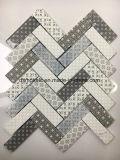 Azulejo de mosaico de cristal Herringbone de la impresión blanca de la inyección de tinta