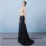 Wulstiges Nixe-lang reizvolles transparentes rückseitiges Höhen-Schlitz-Abschlussball-Kleid