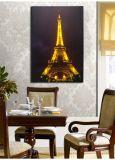 Vente en gros Tour Eiffel Paysage Peinture à l'huile LED encadrée Toile Mur Ar