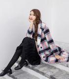포켓을%s 가진 우아한 여자 겨울 모직 바람 외투 격자 무늬 소녀 외투