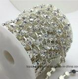 encadenamiento cristalino de la taza del Rhinestone de la taza Ss28 de 6m m del encadenamiento del color de la plata de la alineada brillante superior cristalina redonda de la base 888 (plata/cristal de TCS-ss28/6mm)